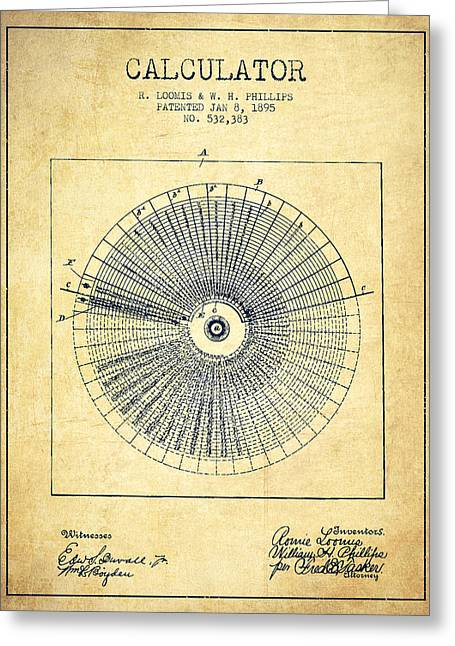 Calculator Patent From 1895 - Vintage Greeting Card