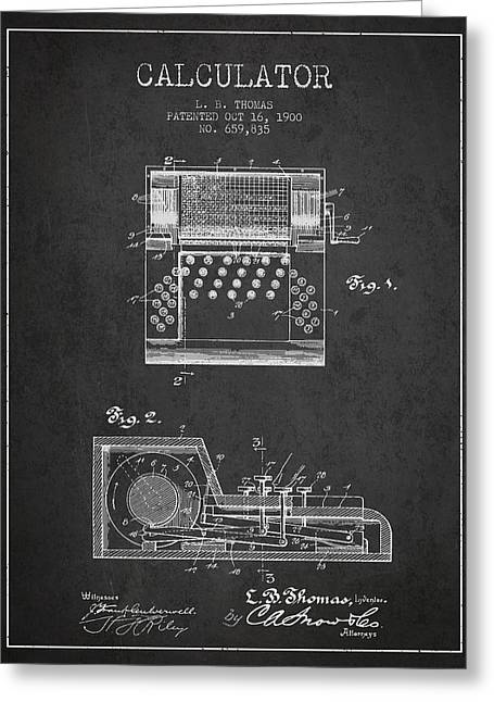 Calculator Patent From 1900 - Charcoal Greeting Card