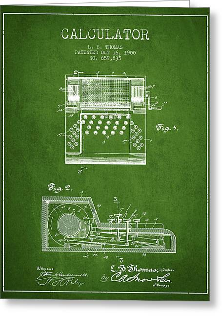 Calculator Patent From 1900 - Green Greeting Card by Aged Pixel