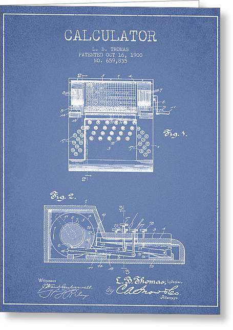 Calculator Patent From 1900 - Light Blue Greeting Card by Aged Pixel