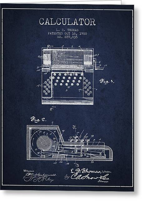 Calculator Patent From 1900 - Navy Blue Greeting Card by Aged Pixel