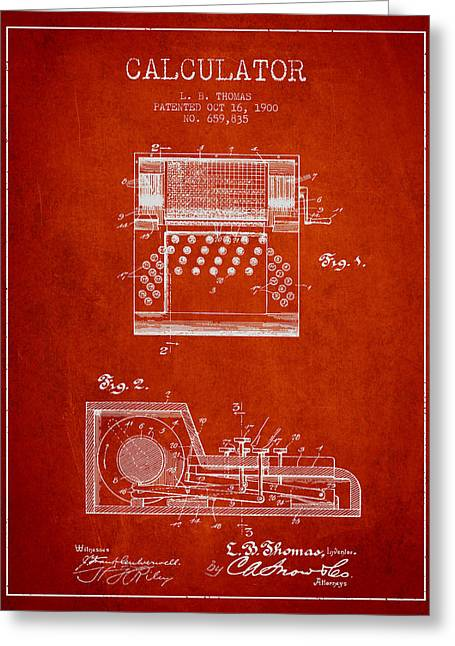Calculator Patent From 1900 - Red Greeting Card by Aged Pixel