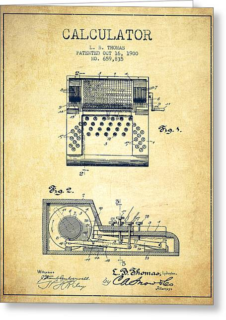 Calculator Patent From 1900 - Vintage Greeting Card