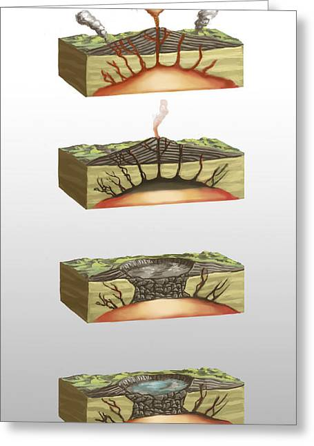 Caldera Formation, Illustration Greeting Card by Spencer Sutton
