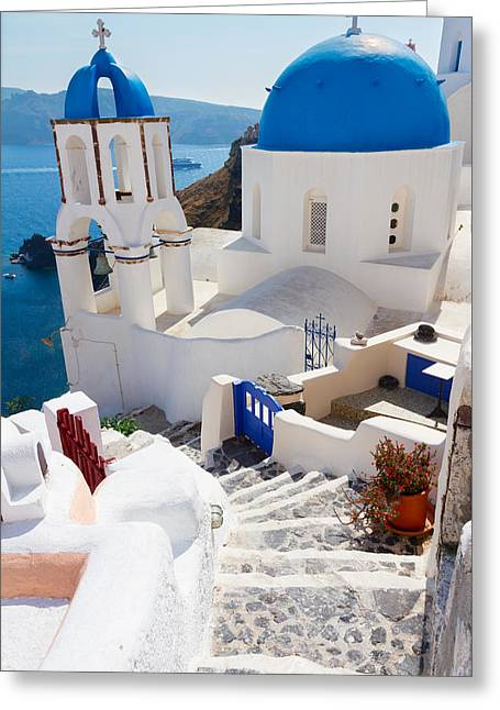 Caldera With Stairs And Church At Santorini Greeting Card by Anastasy Yarmolovich