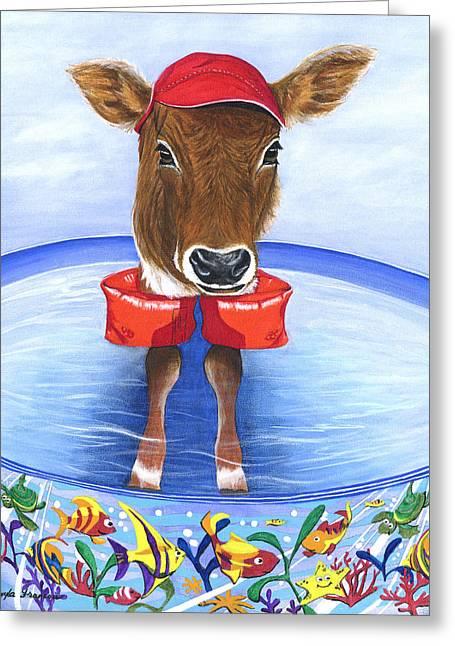 Calf Days Of Summer Greeting Card by Twyla Francois