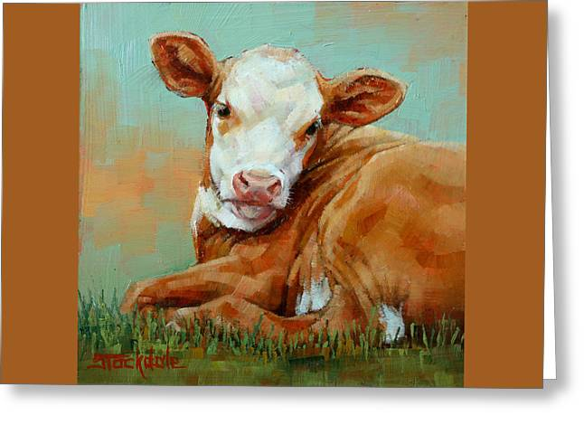 Calf Resting Greeting Card by Margaret Stockdale