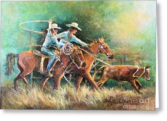 Greeting Card featuring the painting Calf Roping by Linda Shackelford