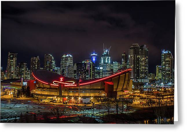 Calgary cityscape greeting cards page 5 of 5 fine art america calgary and the saddledome at night greeting card m4hsunfo