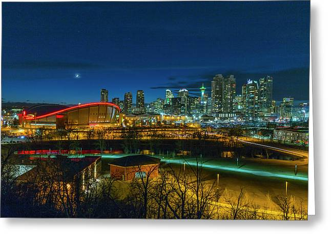 Greeting Card featuring the photograph Calgary At Twilight by Josef Pittner