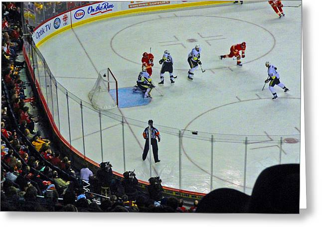 Referee Greeting Cards - Calgary Flames Home Opener Greeting Card by Al Bourassa