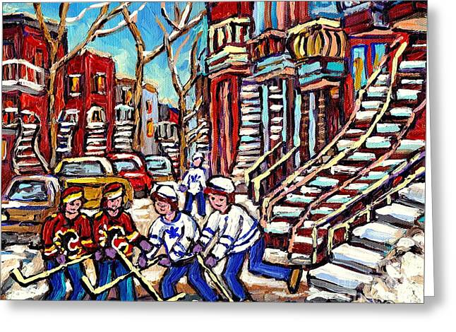 Calgary Flames Vs Maple Leafs Hockey Art Kids Winter Fun Montreal Streets And Staircases Canada Art Greeting Card by Carole Spandau