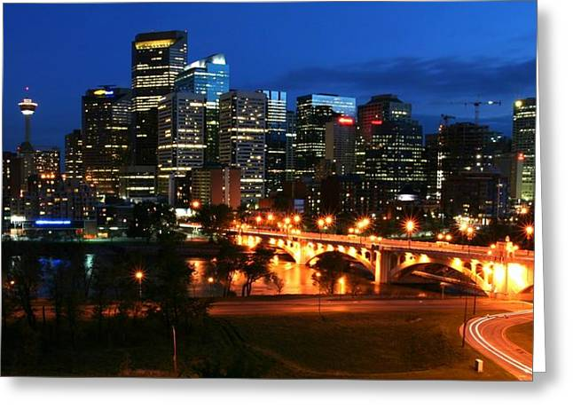 Calgary Skyline At Night Greeting Card