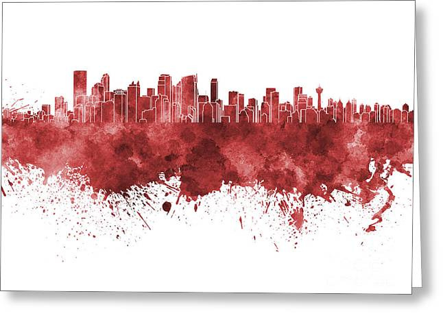 Calgary skyline greeting cards page 2 of 5 fine art america calgary skyline in red watercolor on white background greeting card m4hsunfo