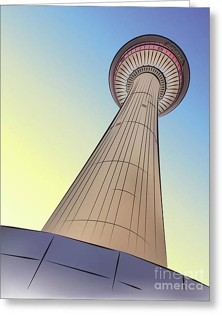 Calgary Tower Greeting Card by Dee Cresswell