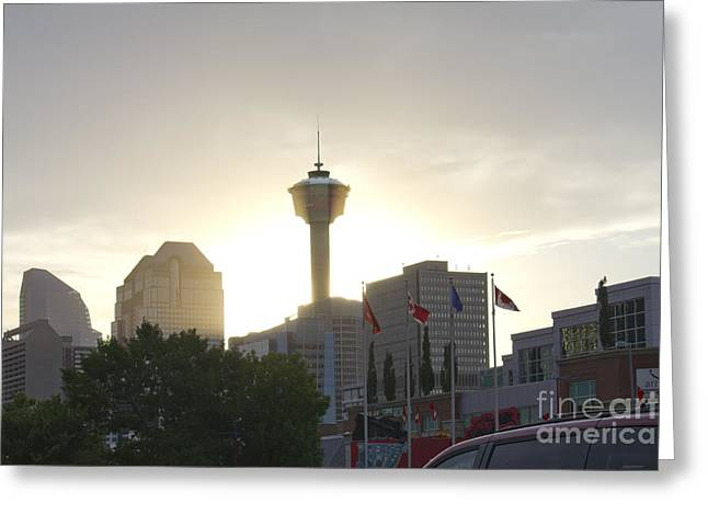 Calgary Tower Lit By Sun Greeting Card by Donna Munro