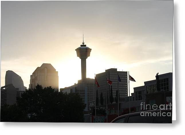 Calgary Tower Lit By Sun V2 Greeting Card by Donna Munro