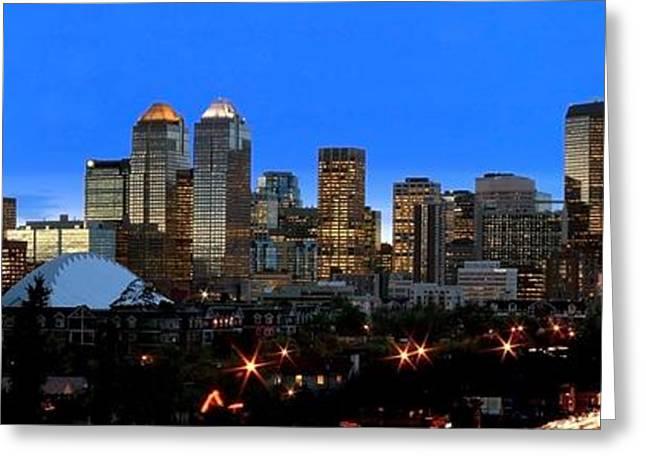Calgarys Skyline Greeting Card by Richard Wear