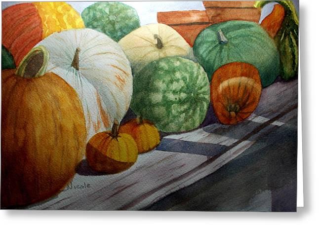 Calgo Pumpkins Greeting Card by Nicole Curreri