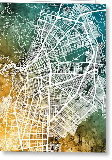 Cali Colombia City Map Greeting Card