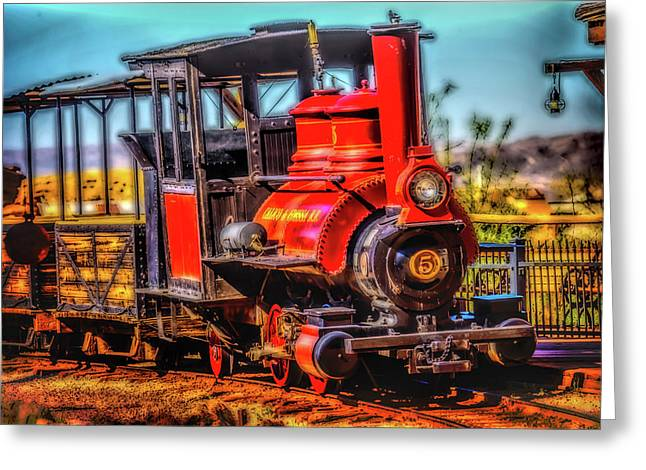 Calico Beautiful Red Train Greeting Card by Garry Gay