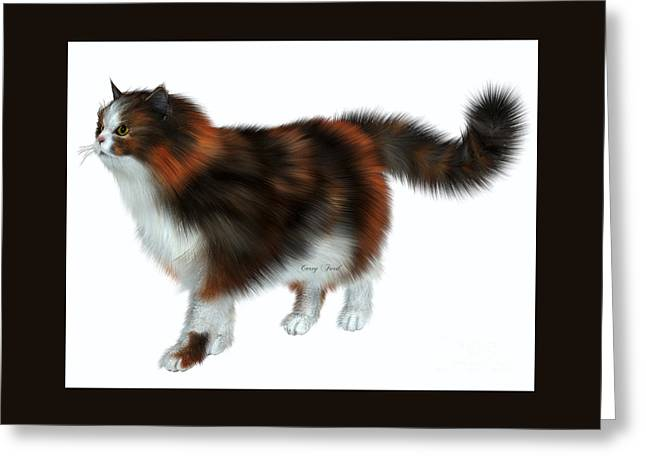 Calico Cat Greeting Card by Corey Ford