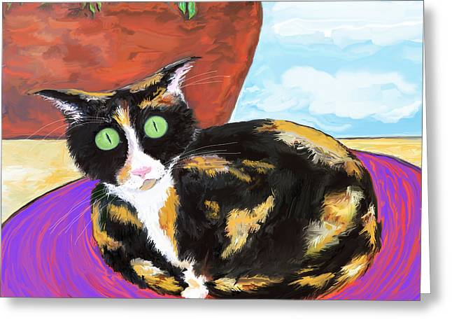 Calico Cat On A Rug  Greeting Card