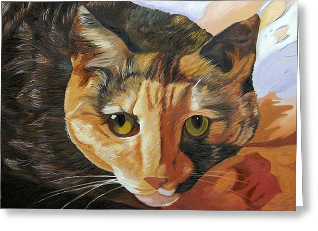 Calico Greeting Card by Kenneth Young