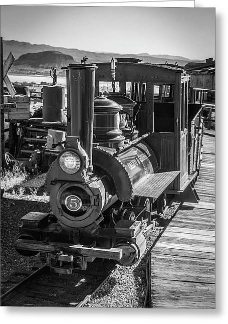 Calico Odessa Train In Black And White Greeting Card