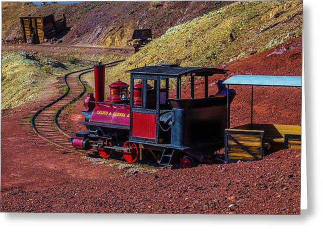 Calico On The Rails Greeting Card