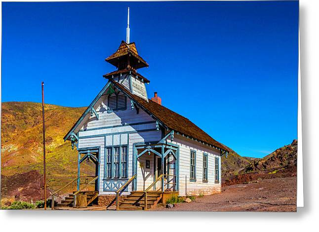 Calico School House Greeting Card by Garry Gay