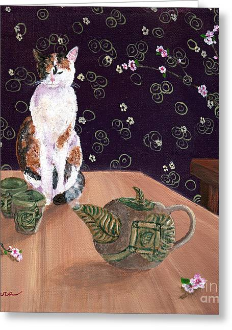 Calico Tea Meditation Greeting Card by Laura Iverson
