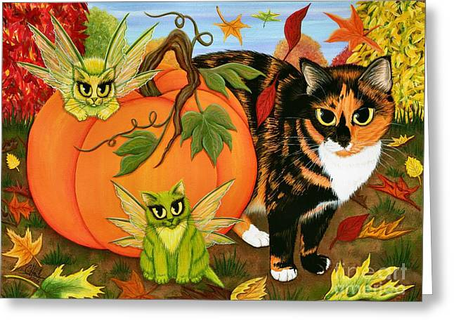 Calico's Mystical Pumpkin Greeting Card