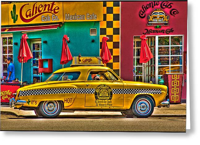 Caliente Cab Co Greeting Card by Chris Lord