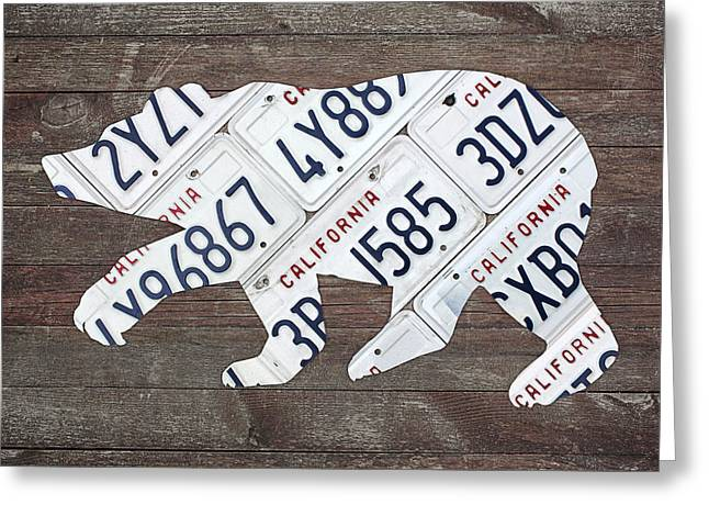 California Bear Official State Animal Shape Recycled License Plate Art Greeting Card