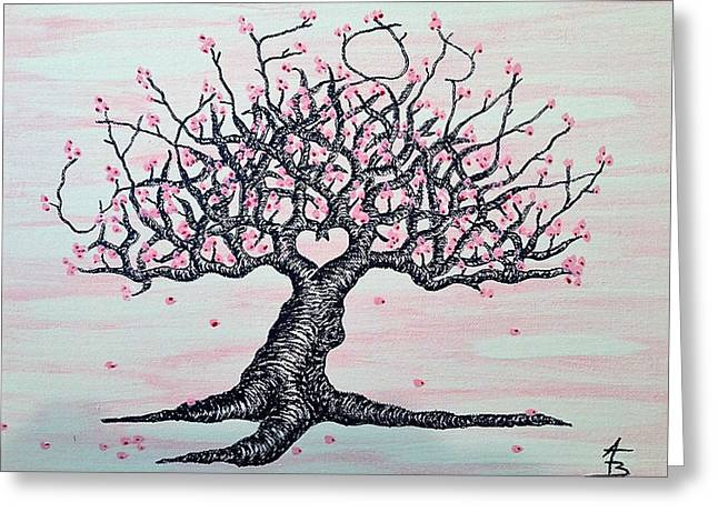 Greeting Card featuring the drawing California Cherry Blossom Love Tree by Aaron Bombalicki