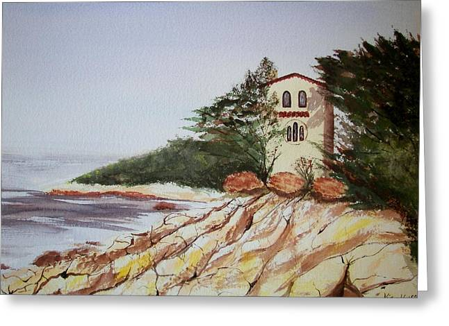 California Coast Dreamhouse Greeting Card by Judy Via-Wolff