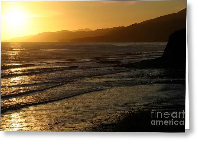 California Coast Sunset Greeting Card by Balanced Art