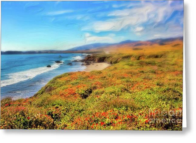 California Coast Wildflowers On Cliffs Ap Greeting Card by Dan Carmichael