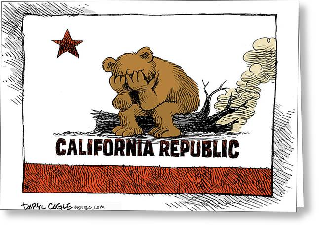 California Fire Bear Grieves Greeting Card