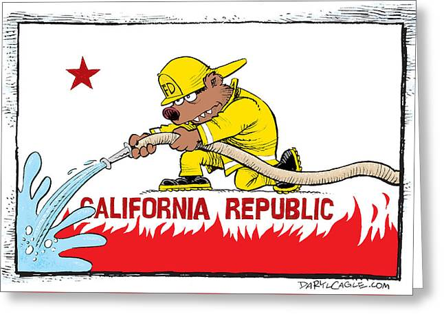 California Firefighter Flag Greeting Card