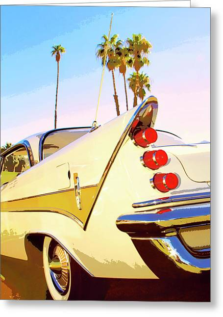 Palm Springs Car Show Greeting Cards - CALIFORNIA GOLD DESOTO Palm Springs Greeting Card by William Dey