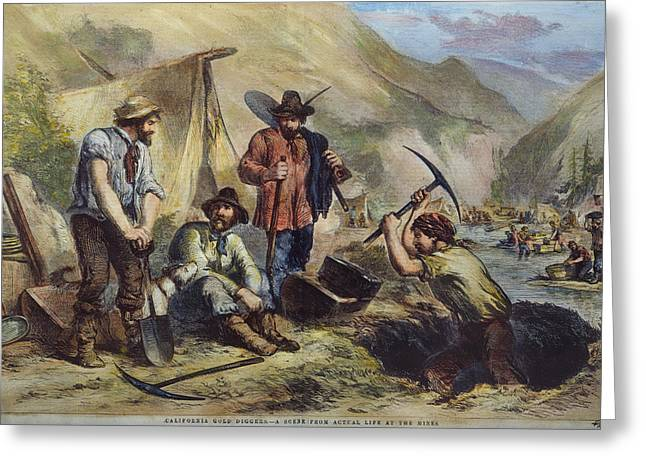Prospector Greeting Cards - California Gold Diggers Greeting Card by Granger