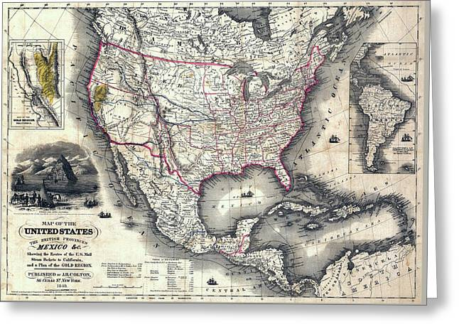 California Gold Rush Map Of The United States 1849 Greeting Card by Daniel Hagerman