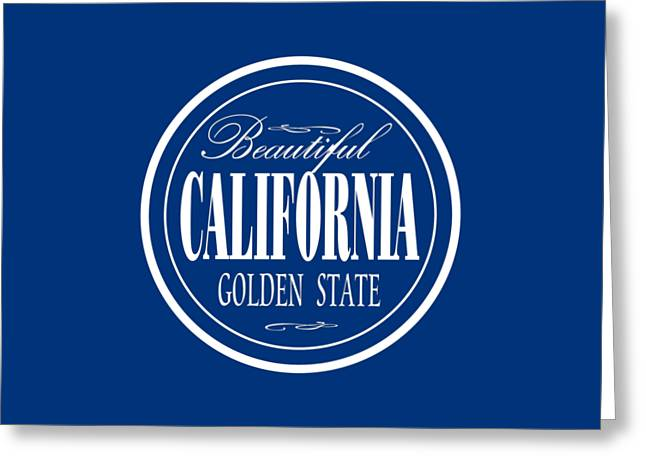 California Golden State - Tshirt Design Greeting Card by Art America Gallery Peter Potter