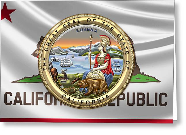 California Great Seal Over Flag Greeting Card by Serge Averbukh