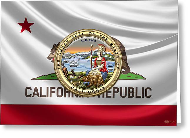 California Great Seal Over State Flag Greeting Card by Serge Averbukh