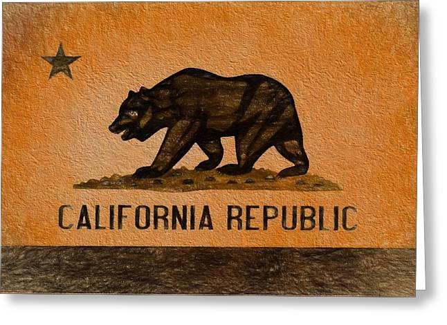 California Grunge Flag Greeting Card by Dan Sproul