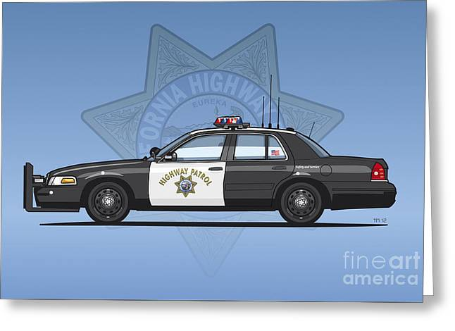California Highway Patrol Ford Crown Victoria Police Interceptor Greeting Card