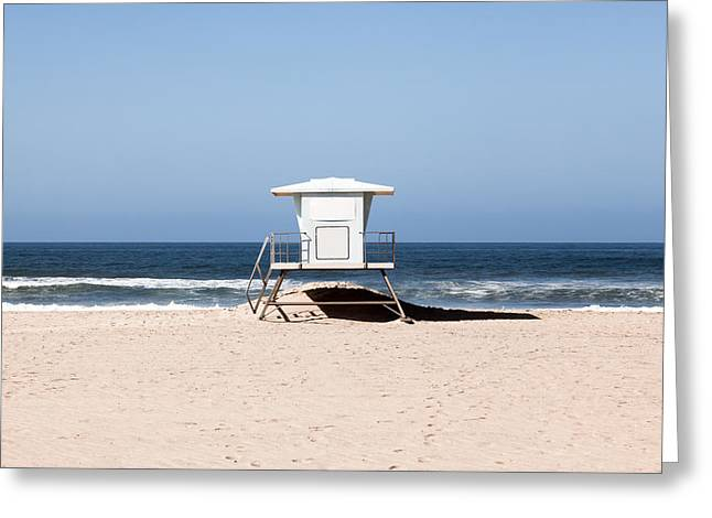 Sand Stand Greeting Cards - California Lifeguard Tower Photo Greeting Card by Paul Velgos